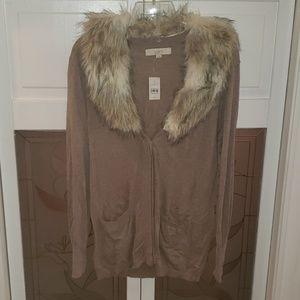 Ann Taylor Loft Fur Collar Sweater Oatmeal Size M